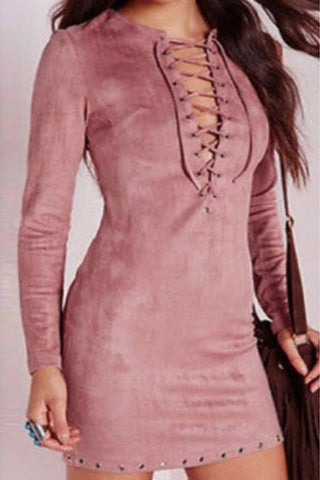 SEXY V CROSS CUTE LONG SLEEVE FASHION DRESS