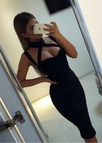 FASHION BLACK SHOW BODY NECK DESIGN SEXY DRESS