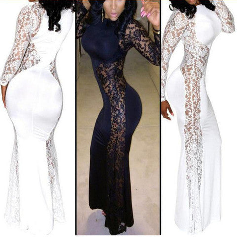 HOT SHOW BODY LACE LONG DRESS