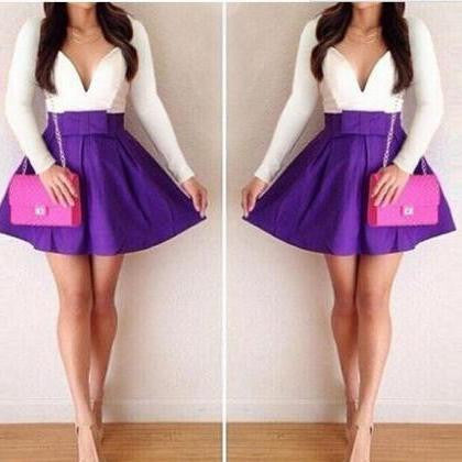 ON SALE CUTE PURPLE WHITE SEXY DRESS