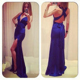ON SALE CUTE FORK BACKLESS CROSS LONG DRESS