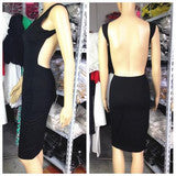 ON SALE HOT BROWN BLACK SEXY BACKLESS DRESS