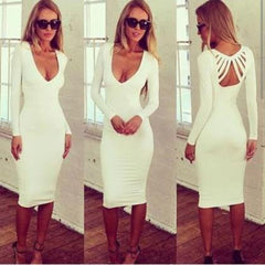 ON SALE DEEP V HOLLOW OUT SEXY LONG DRESS