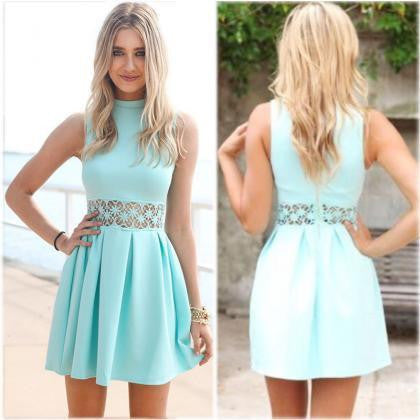 ON SALE CUTE BLUE VEST HOT DRESS WAIST LACE