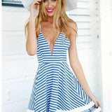 BLUE AND WHITE STRIPED SUMMER COOL AND REFRESHING