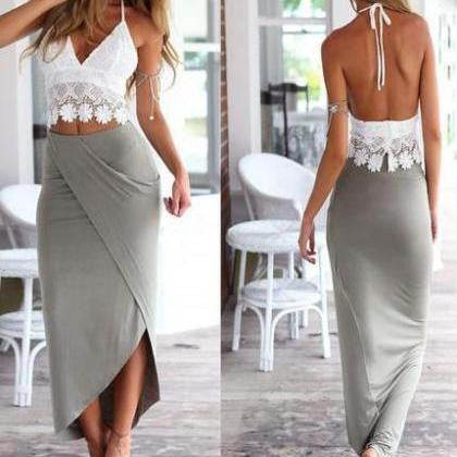 CONDOLE BELT BACKLESS FISSION IRREGULAR PACKAGE BUTTOCKS DRESS TWO-PIECE DRESS