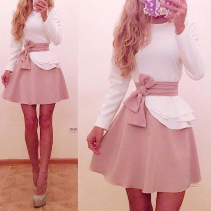 COLOR MATCHING BOW LONG-SLEEVED DRESS
