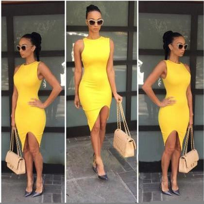 HOT YELLOW SHOW BODY DRESS