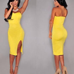 STRAPLESS OPEN FORK PURE COLOR SHOW BODY DRESS