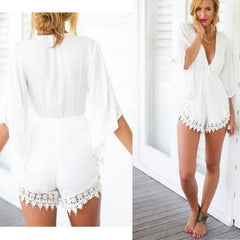 PRINTING V-NECK SEXY LONG SLEEVES CONJOINED SHORTS ROMPER