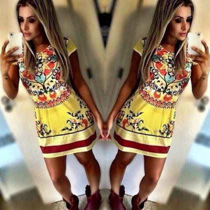 CUTE YELLOW HOT FLOWER TOTEM DRESS