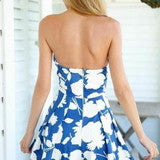 HOT STRAPLESS BLUE ROMPER