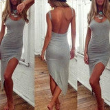 CUTE GREY SEXY VEST DRESS