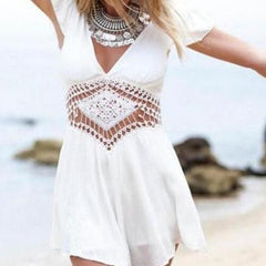 V-NECK SEXY BACKLESS WHITE LACE SHORT-SLEEVED CONJOINED SKIRTS PANTS ROMPER
