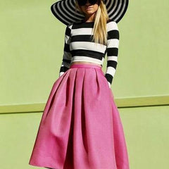 CUTE STRIPES TOP AND HIGH WAIST CUTE SKIRT HIGH QUALITY