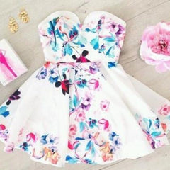 HOT STRAPLESS FLOWER DRESS ELEGANT