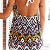 FASHION TASSEL PRINTING SEXY BACKLESS DRESS