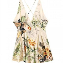 CUTE FLORAL CROSS ROMPER JUMPSUIT