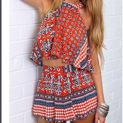 CUTE TOTEM SEXY DESIGN TWO PIECE ROMPER