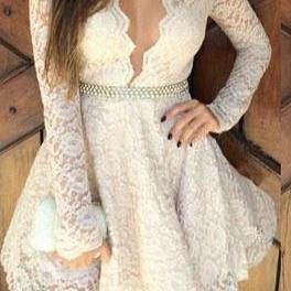 HOT CUTE LACE ELEGANT SEXY DRESS WITH BELT