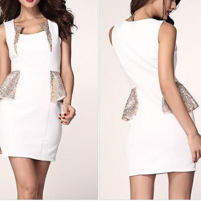 HOT SEQUINS SHINING SHOW BODY ELEGANT DRESS WHITE