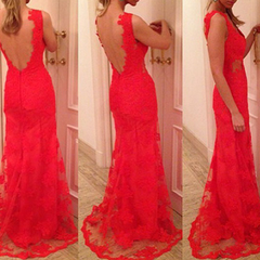 FASHION HOT RED LACE LONG DEEP V DRESS