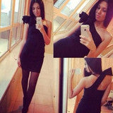 CUTE SHOULDER DESIGN BLACK WHITE DRESS