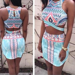 CUTE COLORFUL TWO PIECE DRESS