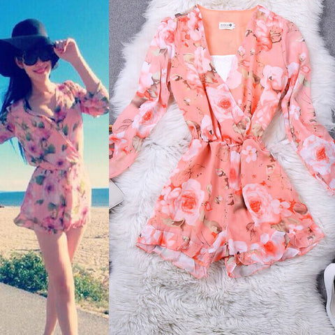 CUTE FLORAL SHORTS PLAYSUIT