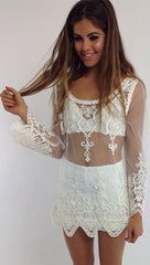 A99953 CUTE LACE FLOWER TOP BLOUSE SMOCK