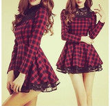 CUTE GRID NET DRESS