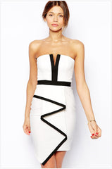 WHITE STRIPE DRESS RIBBON FALLS INTO THAT WIPE A BOSOM HIP SKIRT DRESS
