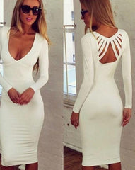 ON SALE PURE COLOR LONG SLEEVE V-NECK SEXY BACKLESS LOW-CUT DRESS