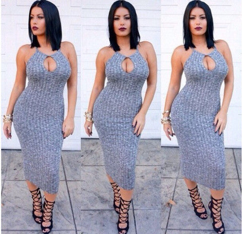GREY HOLLOW OUT SEXY SHOW BODY DRESS