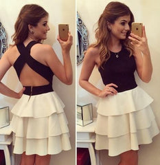 ELEGANT CUTE CROSS BLACK WHITE DRESS