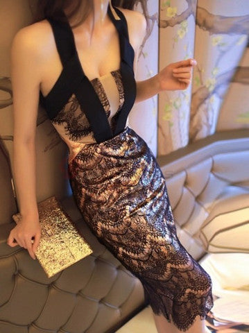 SEXY LACE SHINING HOT DRESS
