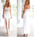 HIGH WAIST FORK TWO PIECE LACE SEXY ELEGANT DRESS HIGH QUALITY