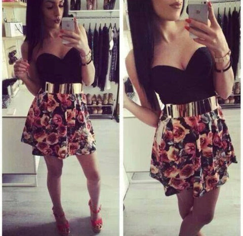 FASHION HOT STRAPLESS FLOWER CLASSY DRESS