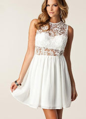 ELEGANT SEE-THROUGH LACE VEST DRESS