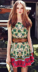 CUTE FLOWER VEST GREEN DRESS