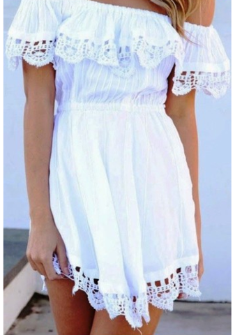 CUTE ONE WORD LACE CHIFFON DRESS