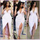 IRREGULAR WHITE V-NECK SEXY DRESS