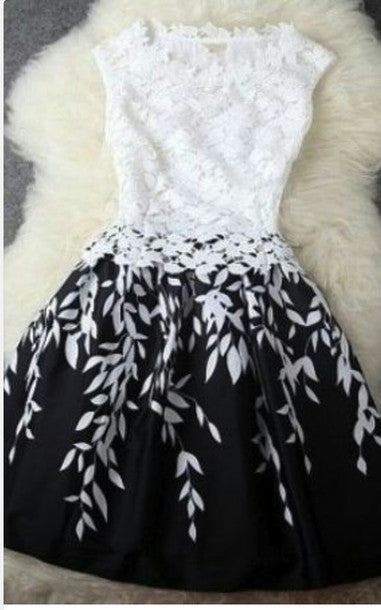 BLACK AND WHITE CONTRAST COLOR LEAF BUD SILK DRESS A-LINE SKIRT DRESS