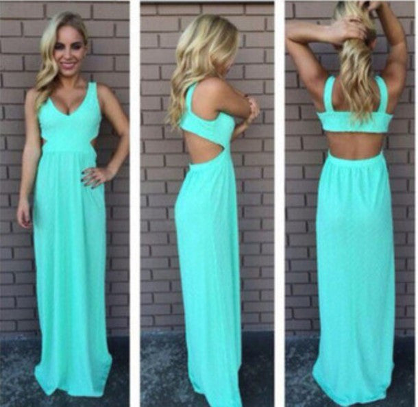 CUTE GREEN CHIFFON BACKLESS DRESS