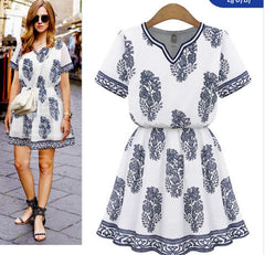 HOT FLORAL CUTE SHOW SLEEVE DRESS