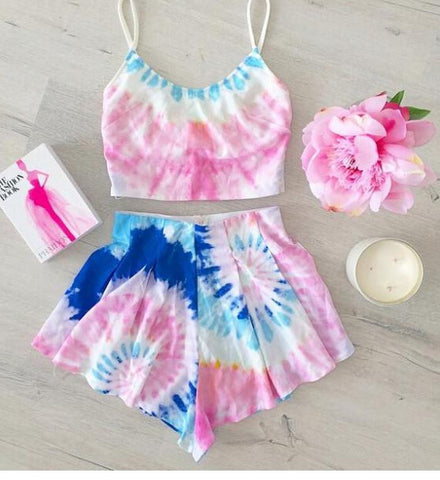 COLORFUL PRINTED TWO PIECE ROMPER JUMPSUIT