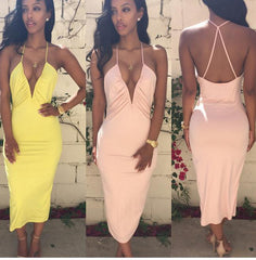SEXY DEEP HOT CROSS BACKLESS DRESS