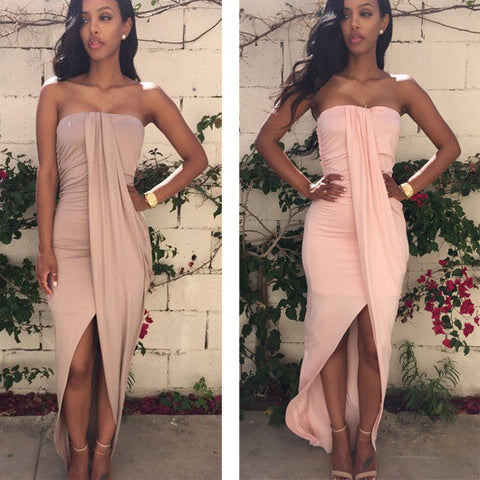 HOT IRREGULAR LONG STRAPLESS DRESS