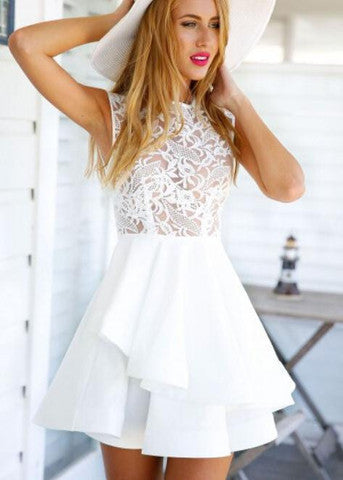 LACE IS HOLLOW-OUT SPLICING DRESS HOT HIGH QUALITY