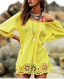 CUTE ONE WORD HOLLOW OUT HEM DRESS